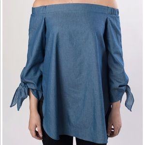 NWT Chambray Off the Shoulder Top sz S